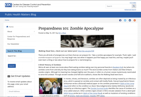 CDC – Preparedness 101: Zombie Apocalypse.