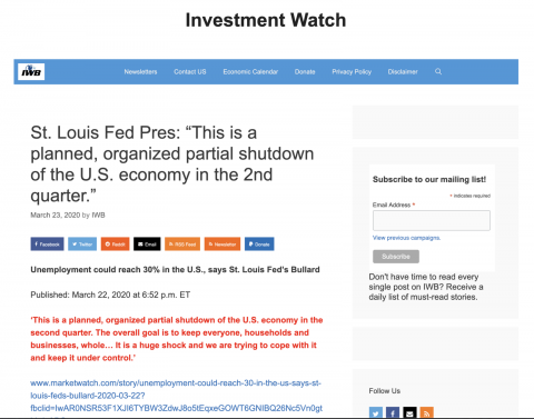 """St. Louis Fed Pres: """"This is a planned, organized partial shutdown of the U.S. economy in the 2nd quarter."""" – Investment Watch."""