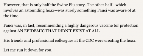 REPORT: Tony Fauci and the Swine Flu hoax; betrayal of trust Mar 5 by Jon Rappoport