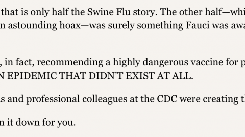 REPORT: Tony Fauci and the Swine Flu hoax; betrayal of trust Mar 5 by Jon Rappoport