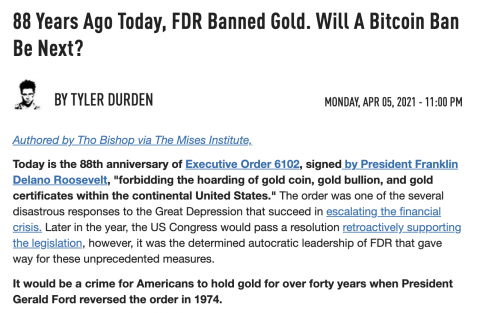 ON THIS DAY: 88 Years Ago Today (APRIL 5TH, 1933), FDR Banned Gold. Will A Bitcoin Ban Be Next?