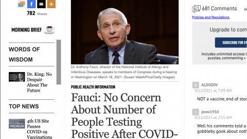 REPORT(S): Fauci: No Concern About Number of People Testing Positive After COVID-19 Vaccination VS Fauci: 'It's Still Not OK' to Eat or Drink Indoors Even if You're Vaccinated